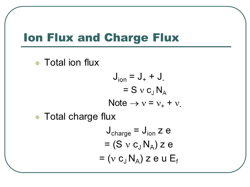Ion Flux and Charge Flux