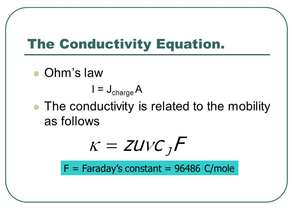The Conductivity Equation.