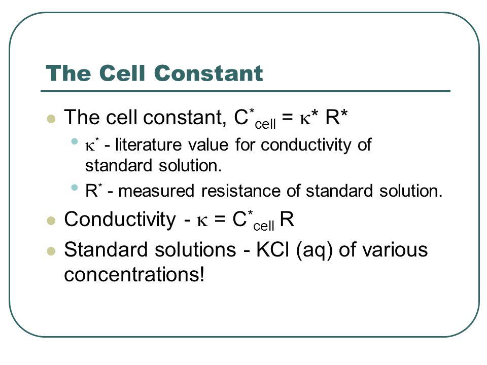 The Cell Constant The cell constant, C*cell = * R*