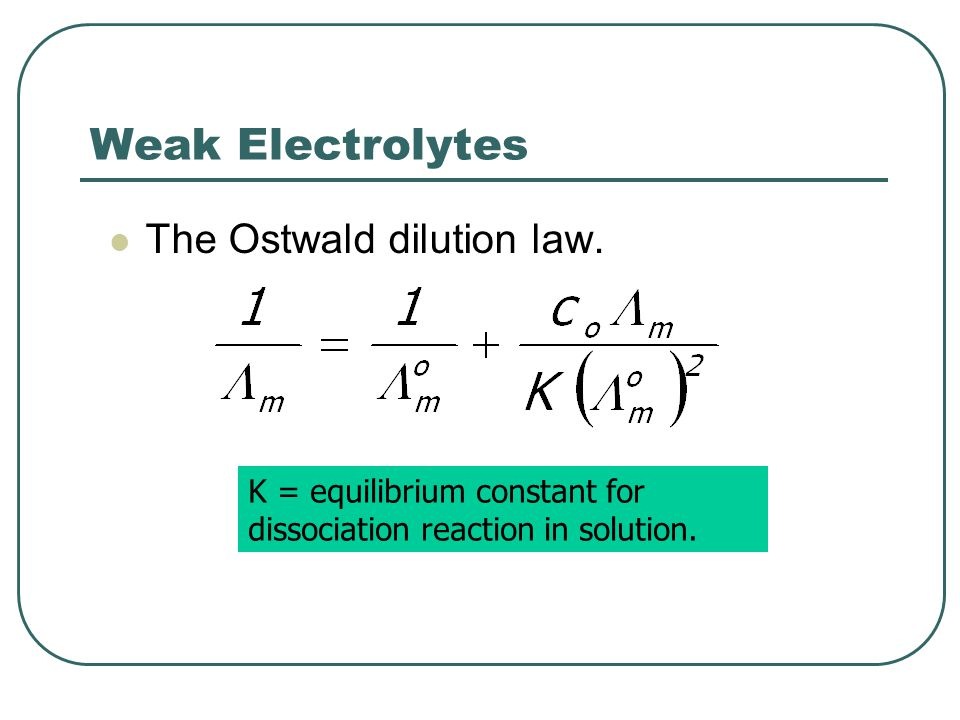 Weak Electrolytes The Ostwald dilution law.