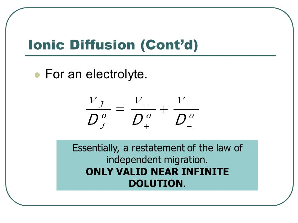 Ionic Diffusion (Cont'd)