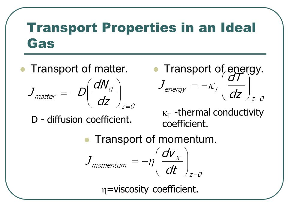 Transport Properties in an Ideal Gas