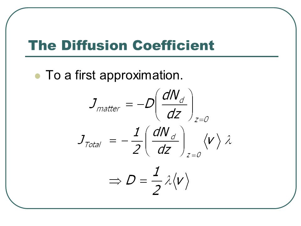 The Diffusion Coefficient