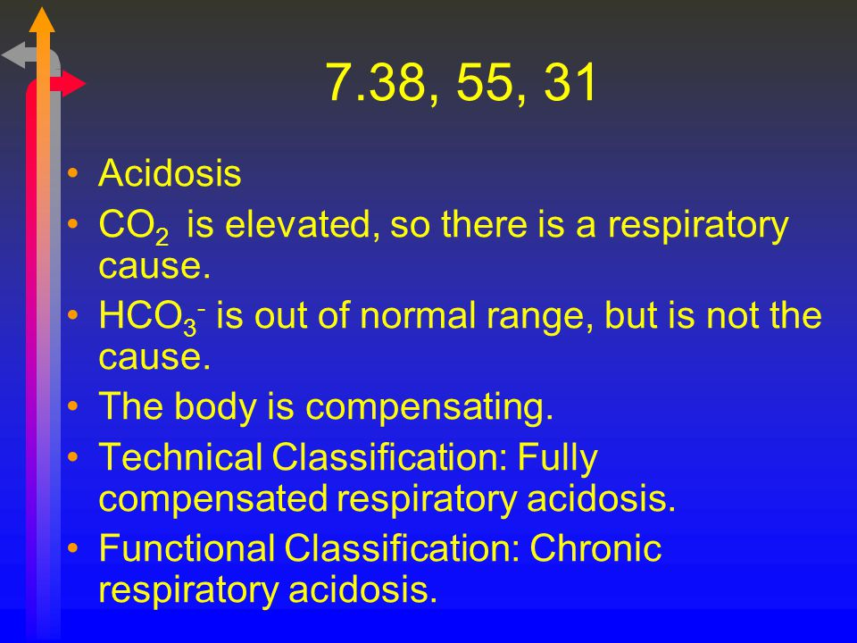 7.38, 55, 31 Acidosis. CO2 is elevated, so there is a respiratory cause. HCO3- is out of normal range, but is not the cause.