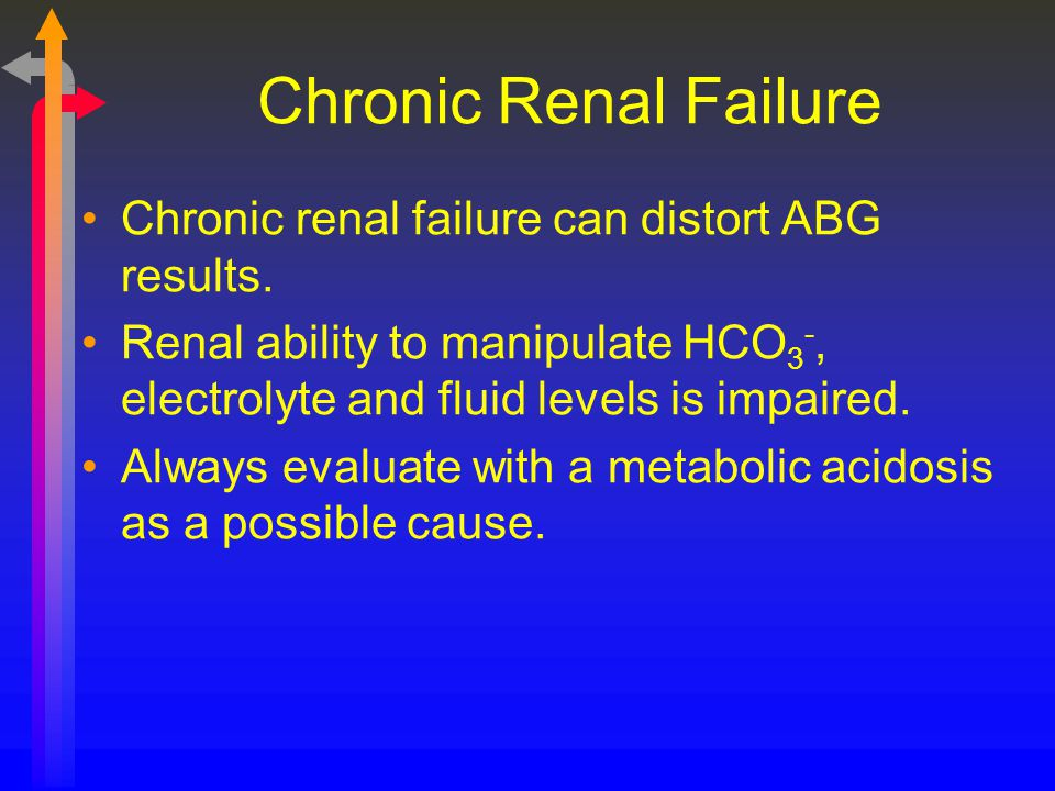 Chronic Renal Failure Chronic renal failure can distort ABG results.