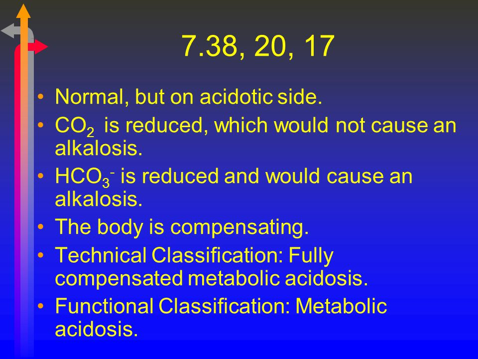 7.38, 20, 17 Normal, but on acidotic side.