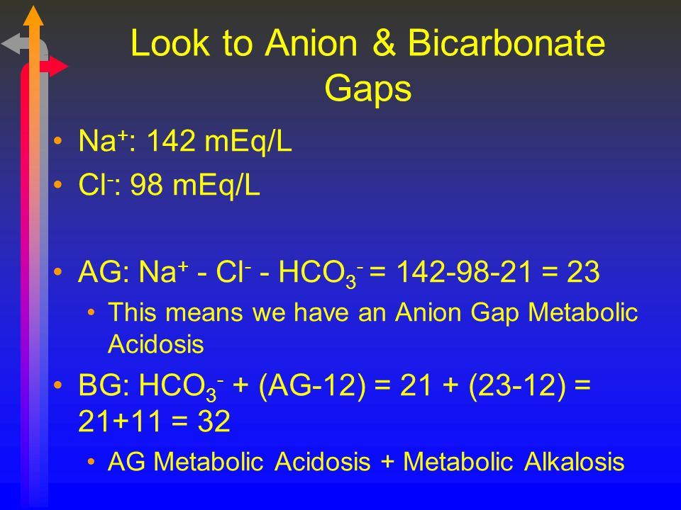 Look to Anion & Bicarbonate Gaps