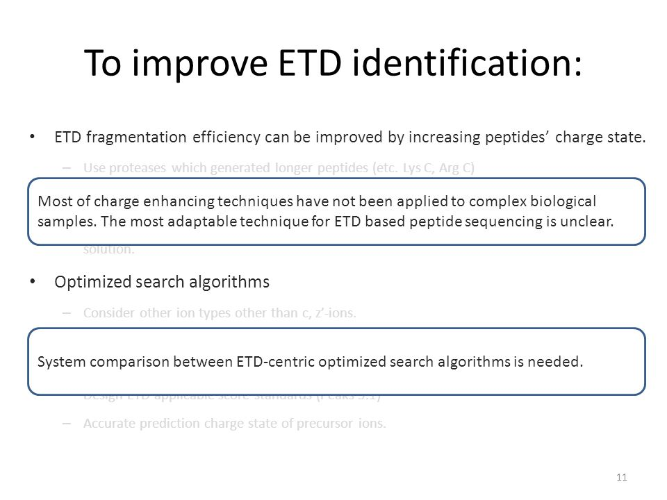 To improve ETD identification: