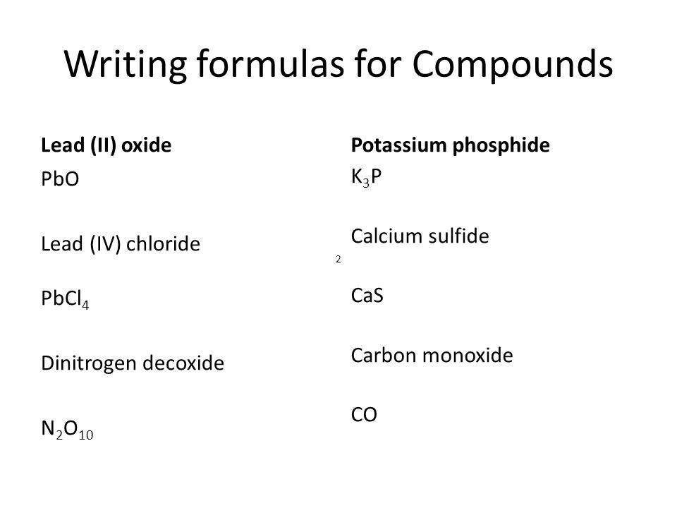 Writing formulas for Compounds
