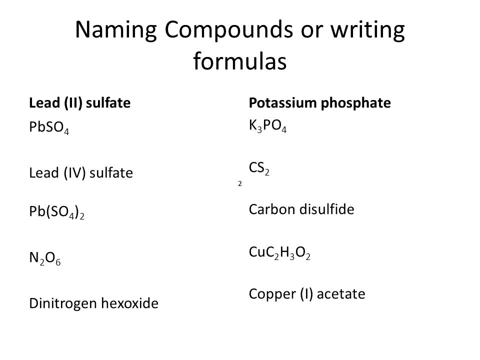 Naming Compounds or writing formulas