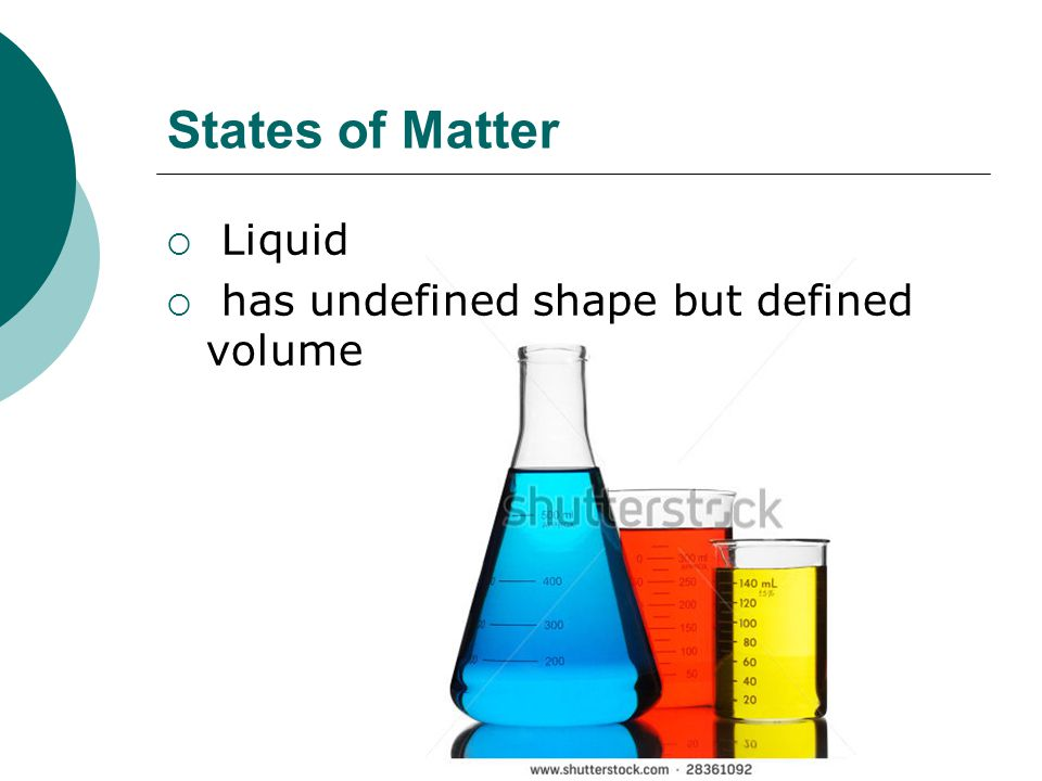 States of Matter Liquid has undefined shape but defined volume