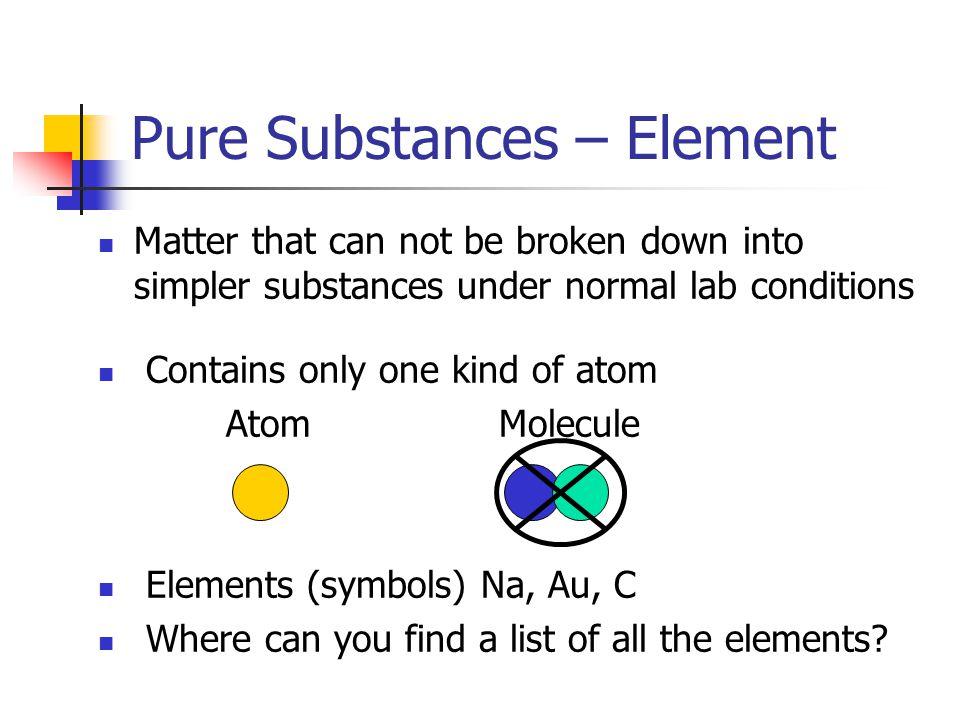 Pure Substances – Element
