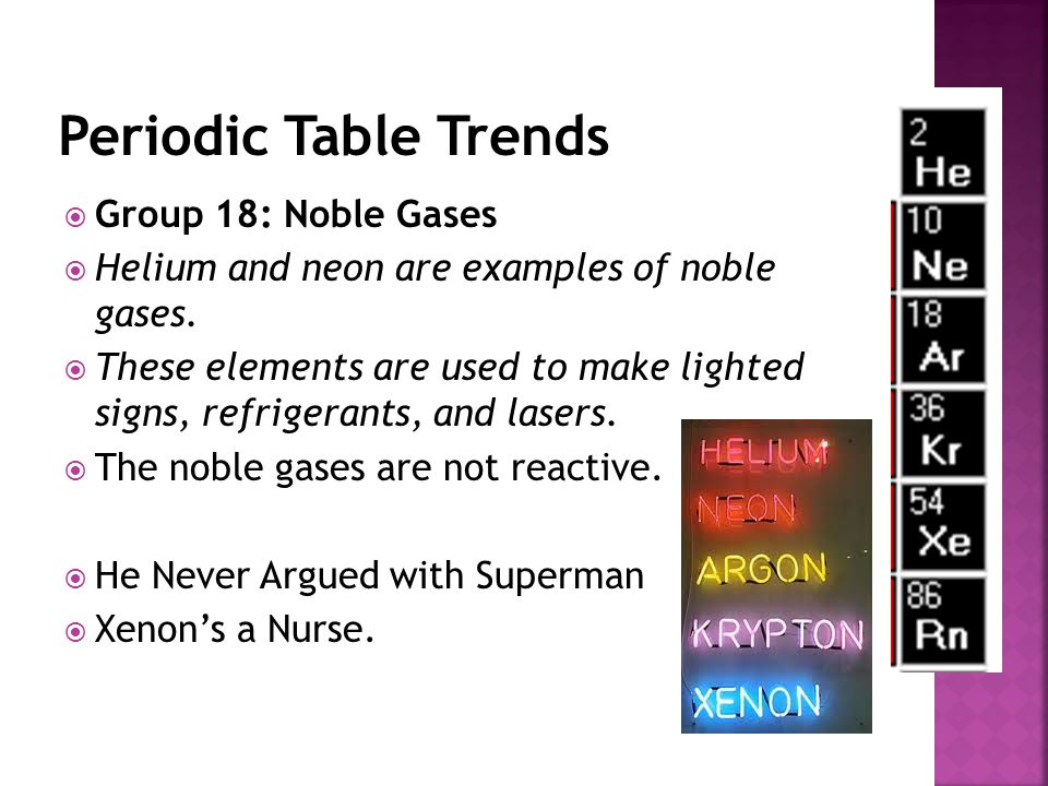 Periodic Table Trends Group 18: Noble Gases