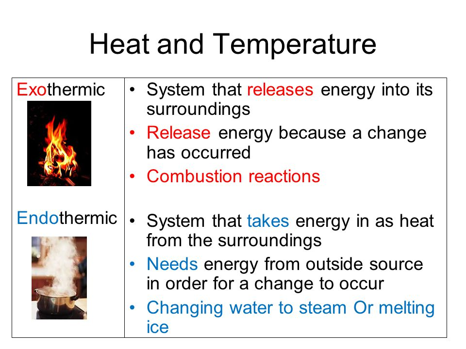 Heat and Temperature Exothermic Endothermic