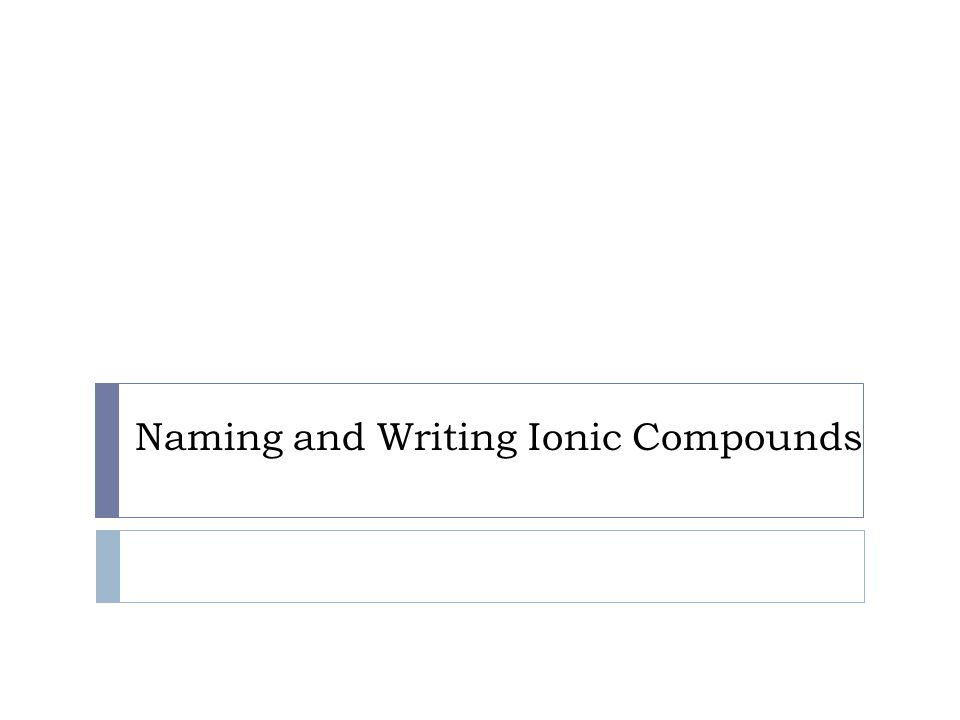 Naming and Writing Ionic Compounds
