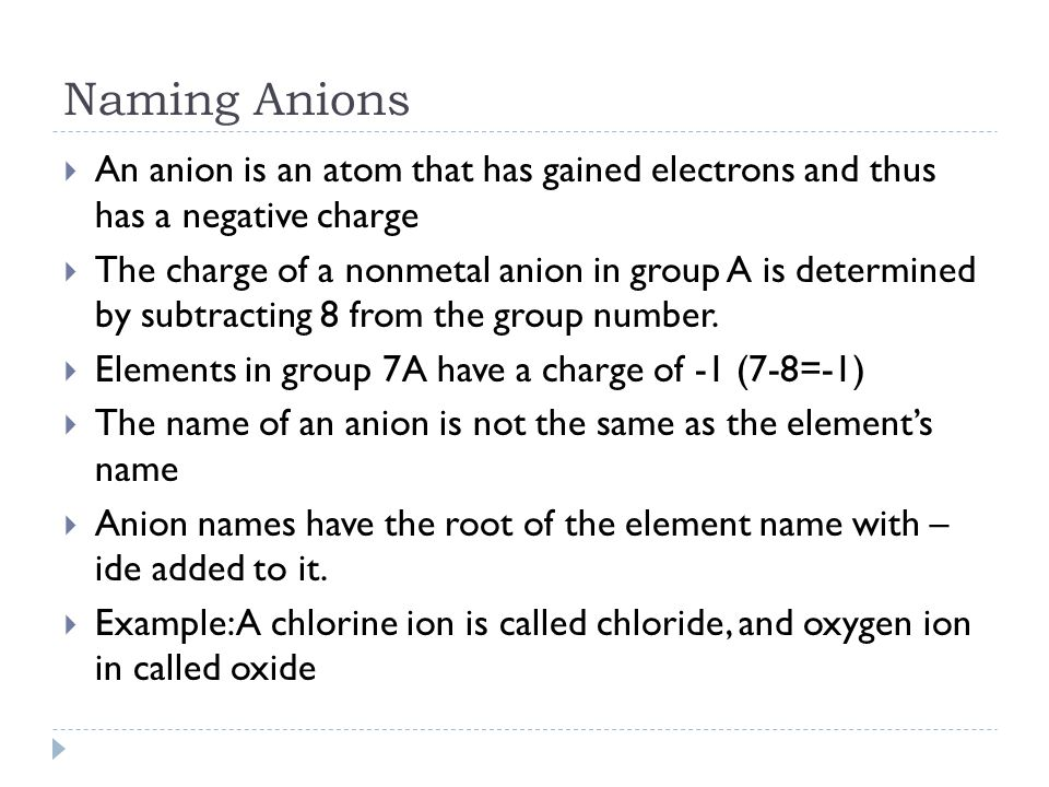 Naming Anions An anion is an atom that has gained electrons and thus has a negative charge.