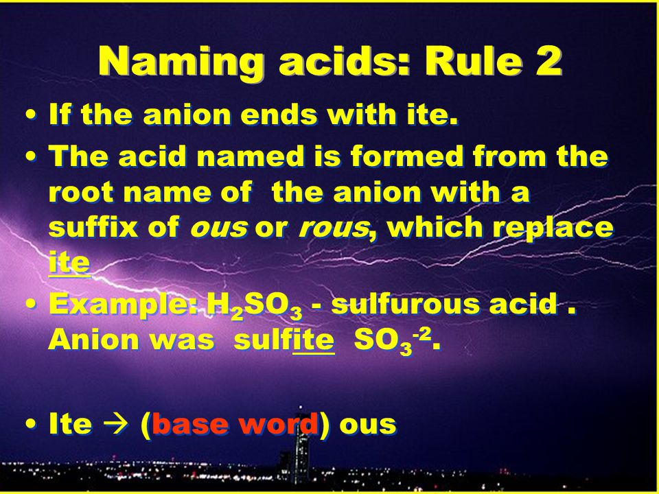 Naming acids: Rule 2 If the anion ends with ite.
