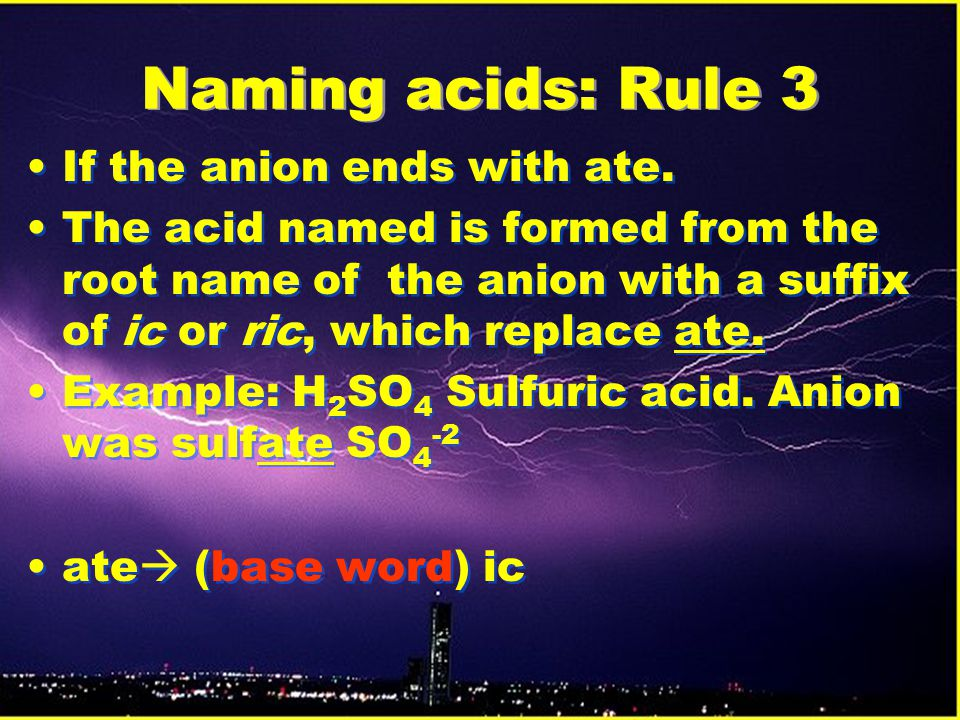 Naming acids: Rule 3 If the anion ends with ate.