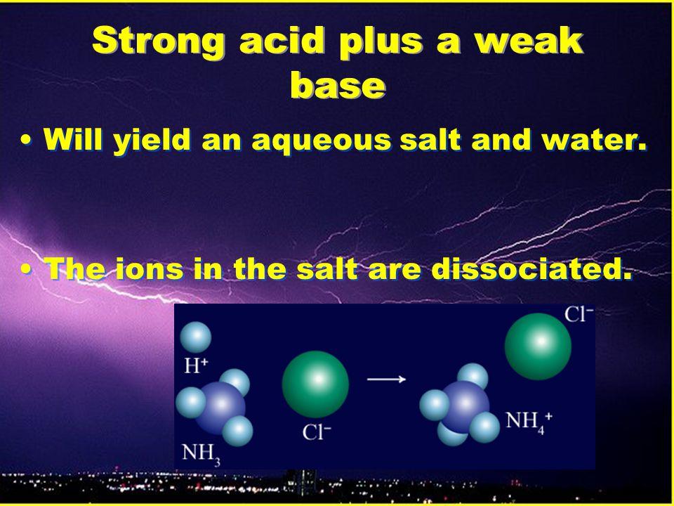 Strong acid plus a weak base