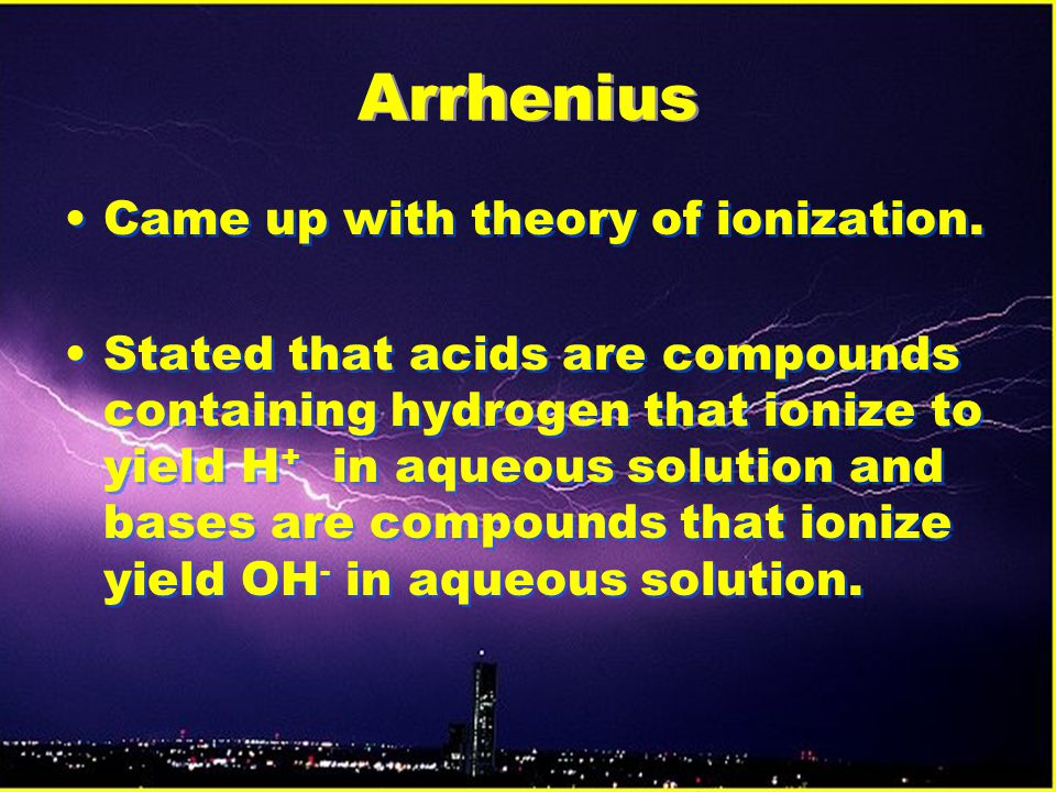 Arrhenius Came up with theory of ionization.