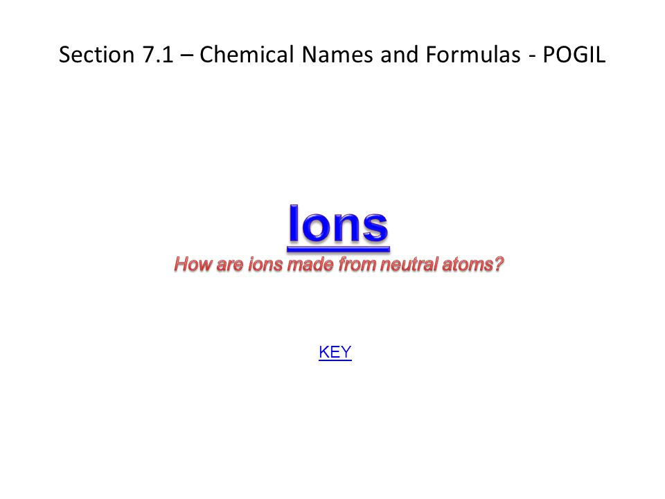 Ions Section 7.1 – Chemical Names and Formulas - POGIL