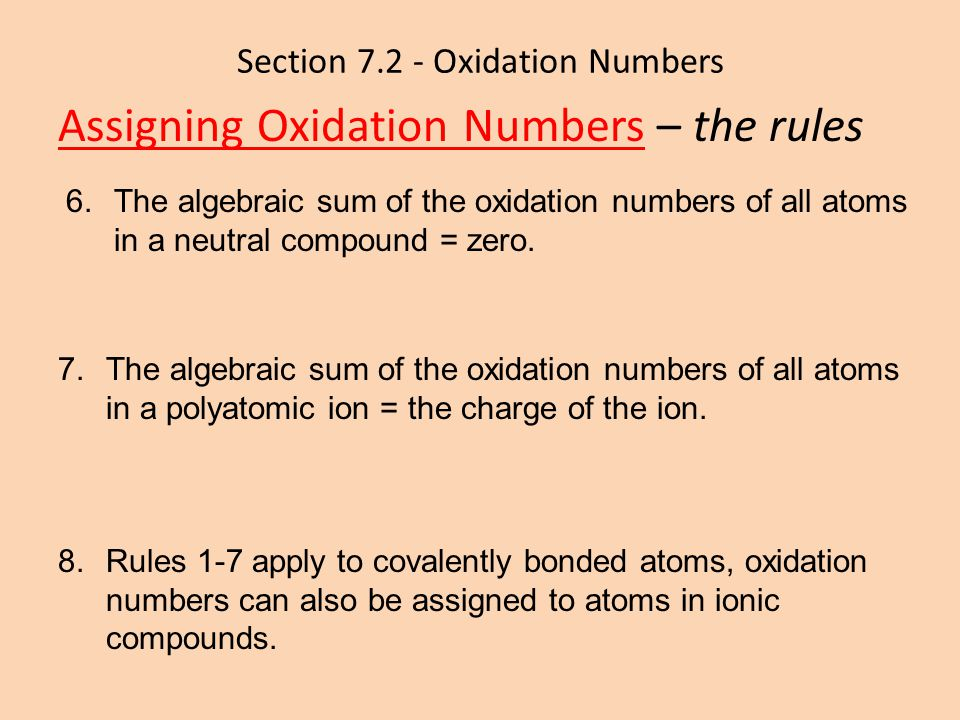 Section 7.2 - Oxidation Numbers