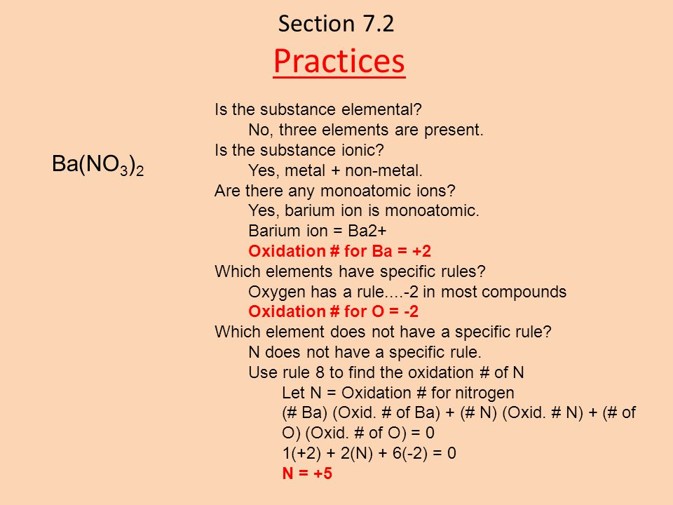 Practices Section 7.2 Ba(NO3)2 Is the substance elemental