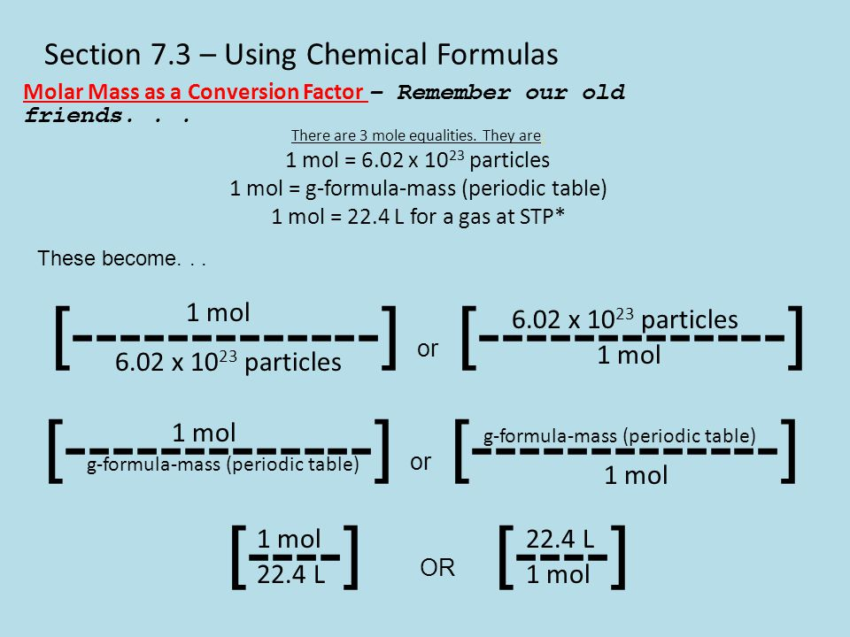 Section 7.3 – Using Chemical Formulas