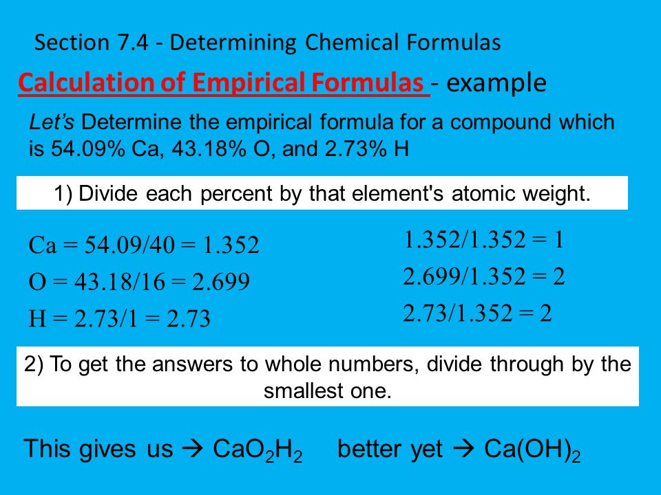 Section 7.4 - Determining Chemical Formulas