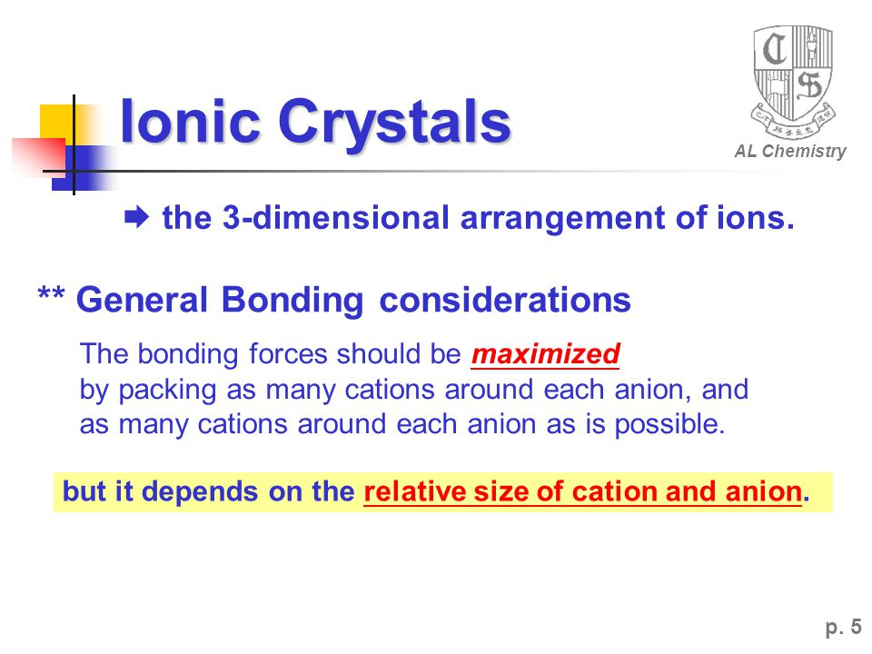 Ionic Crystals ** General Bonding considerations