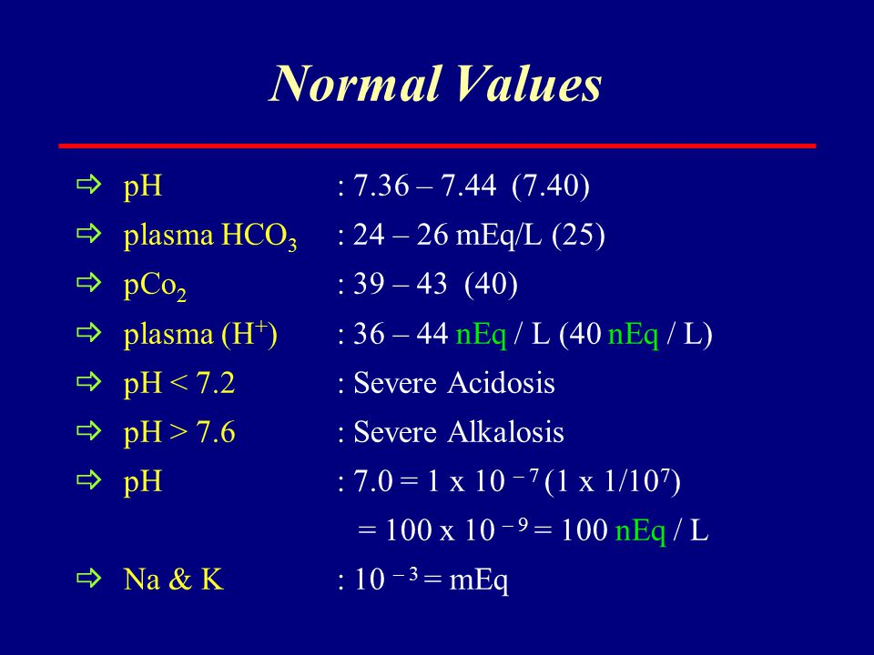 Normal Values pH : 7.36 – 7.44 (7.40) plasma HCO3 : 24 – 26 mEq/L (25)
