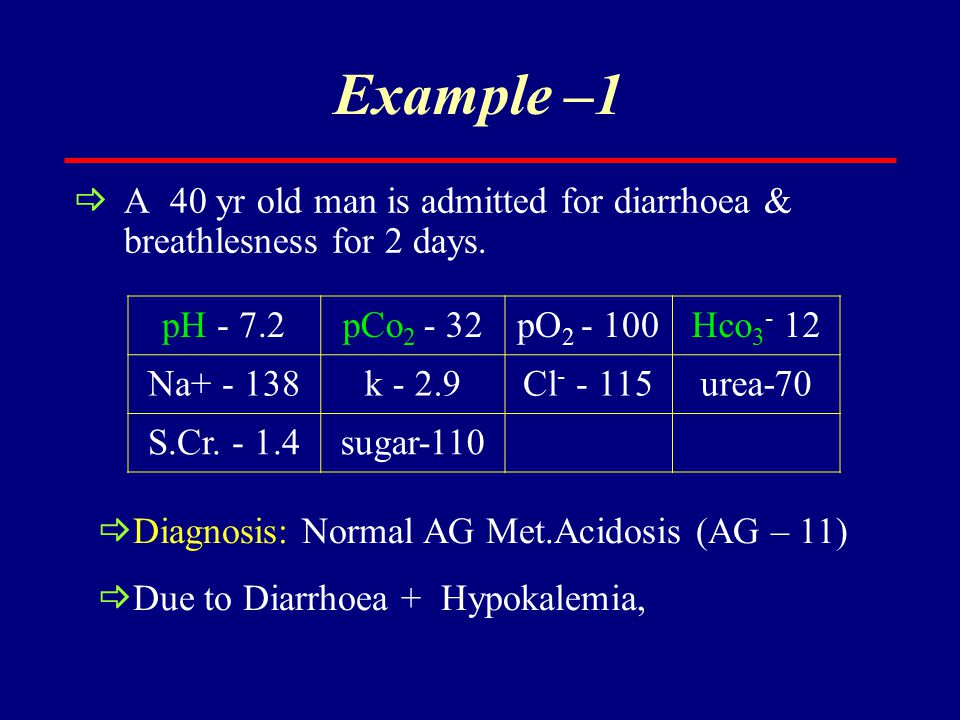 Example –1 A 40 yr old man is admitted for diarrhoea & breathlesness for 2 days. pH - 7.2. pCo2 - 32.