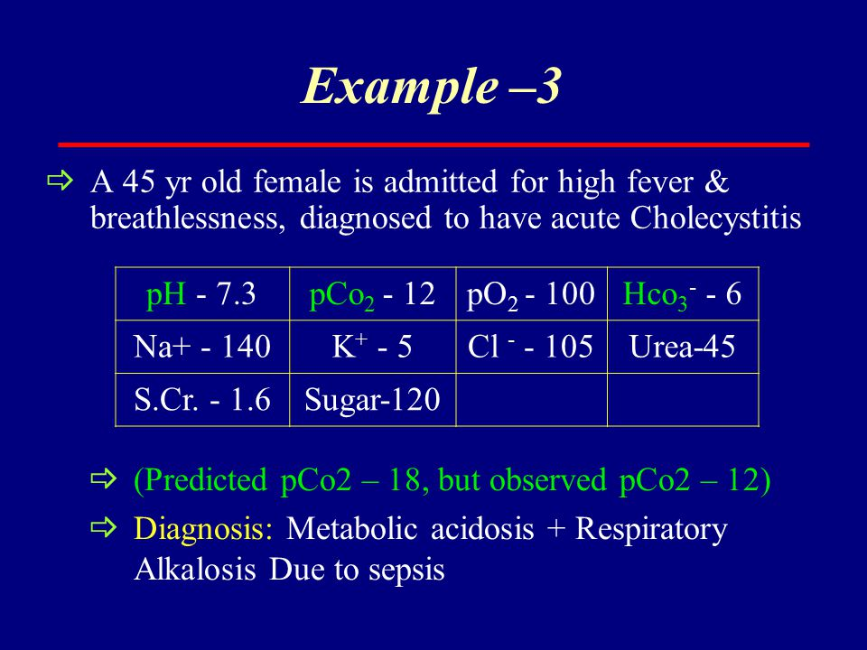 Example –3 A 45 yr old female is admitted for high fever & breathlessness, diagnosed to have acute Cholecystitis.