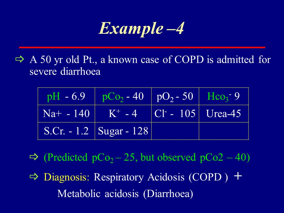 Example –4 A 50 yr old Pt., a known case of COPD is admitted for severe diarrhoea. pH - 6.9. pCo2 - 40.