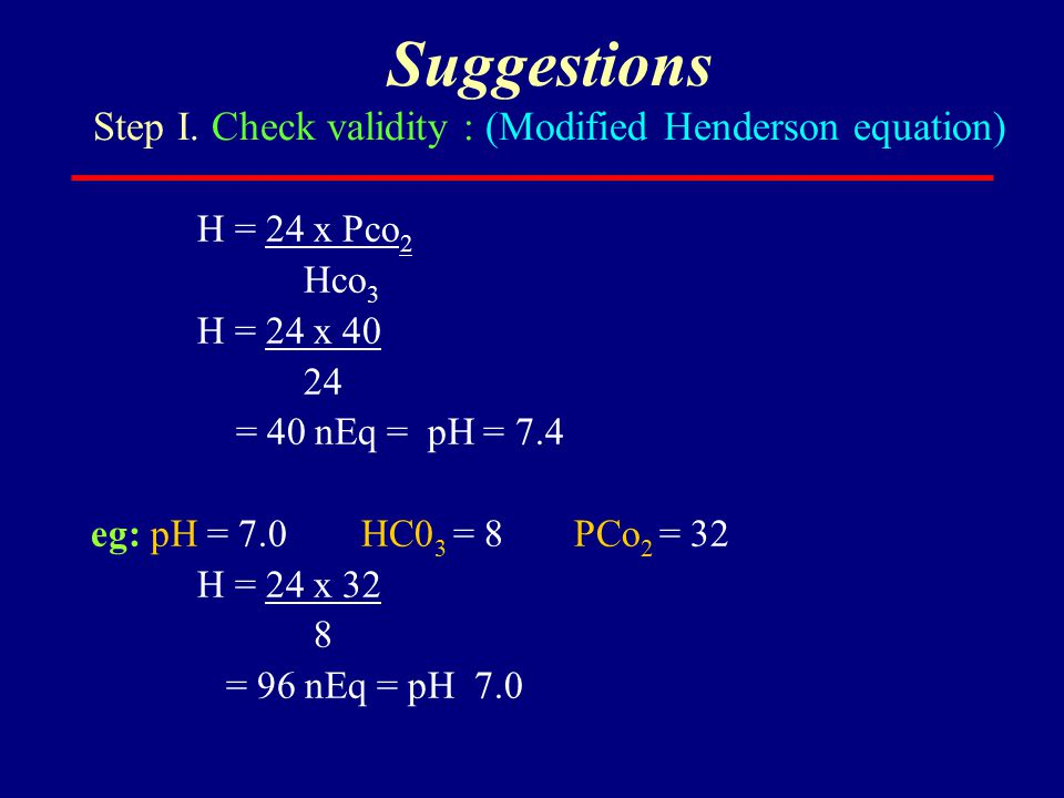 Suggestions Step I. Check validity : (Modified Henderson equation)