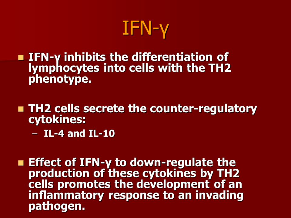 IFN-γ IFN-γ inhibits the differentiation of lymphocytes into cells with the TH2 phenotype. TH2 cells secrete the counter-regulatory cytokines: