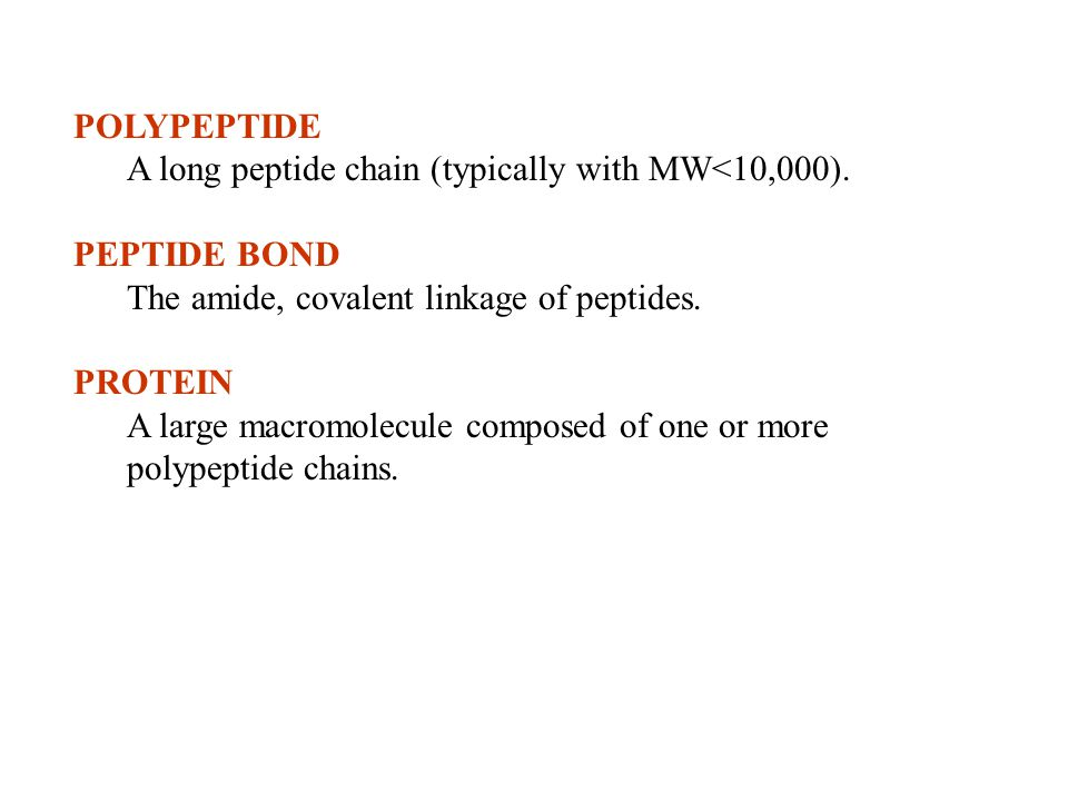 POLYPEPTIDE A long peptide chain (typically with MW<10,000). PEPTIDE BOND. The amide, covalent linkage of peptides.