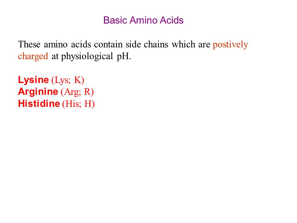 Basic Amino Acids These amino acids contain side chains which are postively charged at physiological pH.