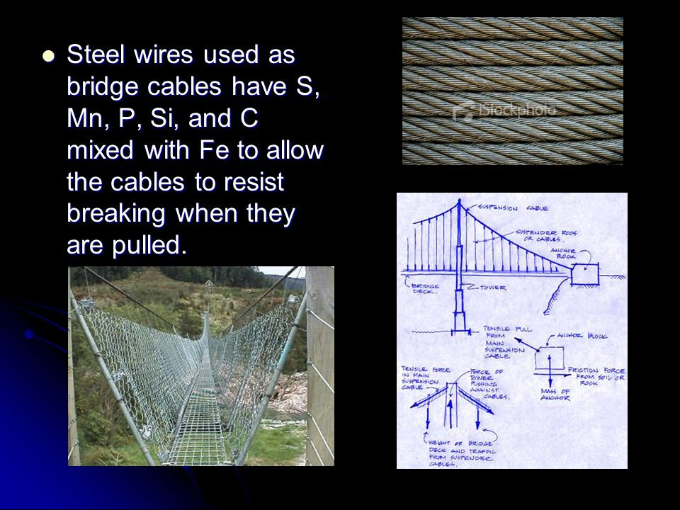 Steel wires used as bridge cables have S, Mn, P, Si, and C mixed with Fe to allow the cables to resist breaking when they are pulled.