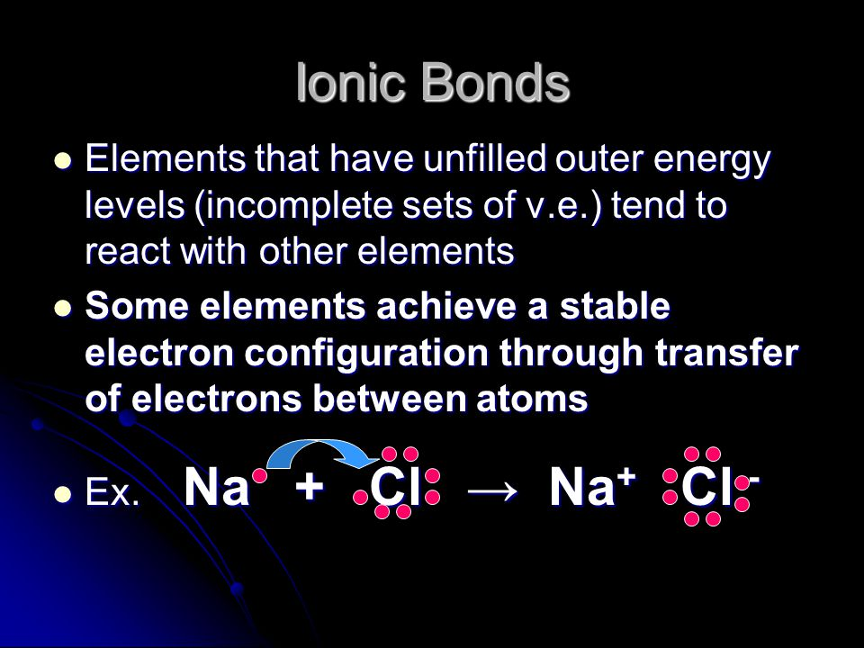 Ionic Bonds Elements that have unfilled outer energy levels (incomplete sets of v.e.) tend to react with other elements.