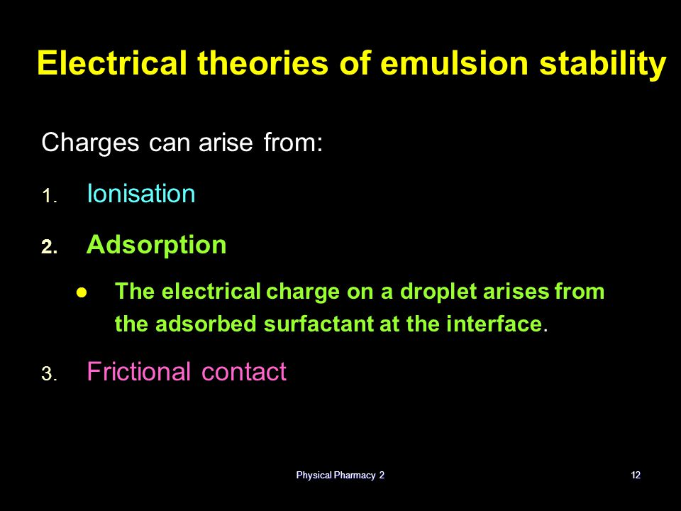 Electrical theories of emulsion stability