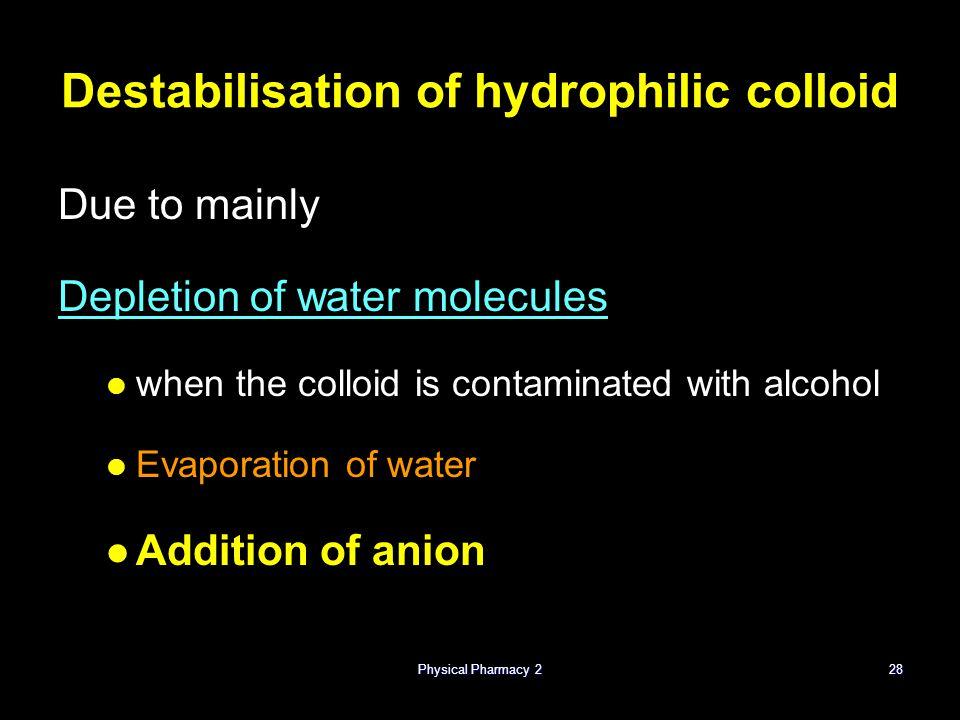 Destabilisation of hydrophilic colloid