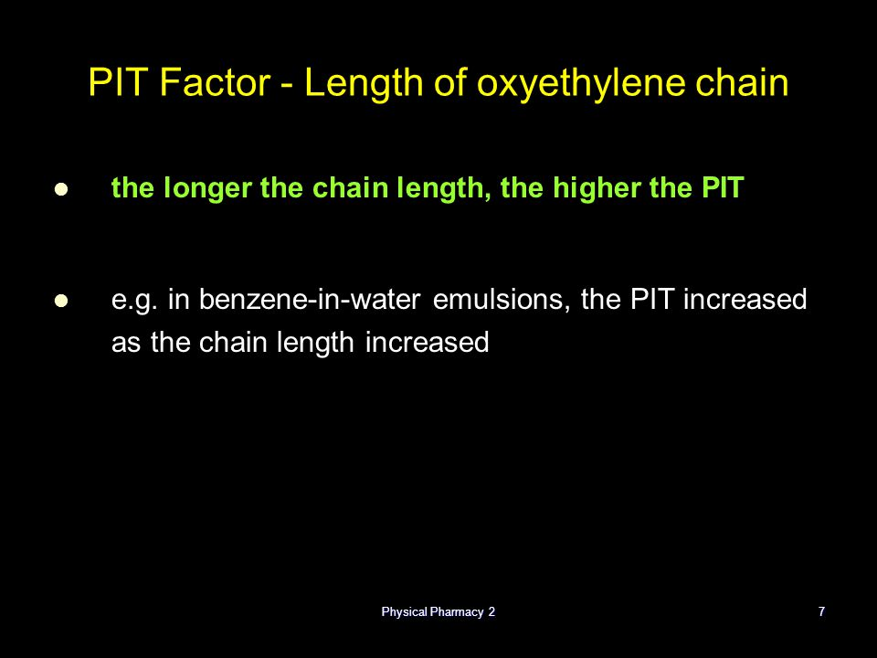PIT Factor - Length of oxyethylene chain