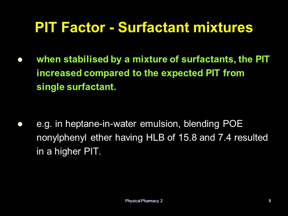 PIT Factor - Surfactant mixtures