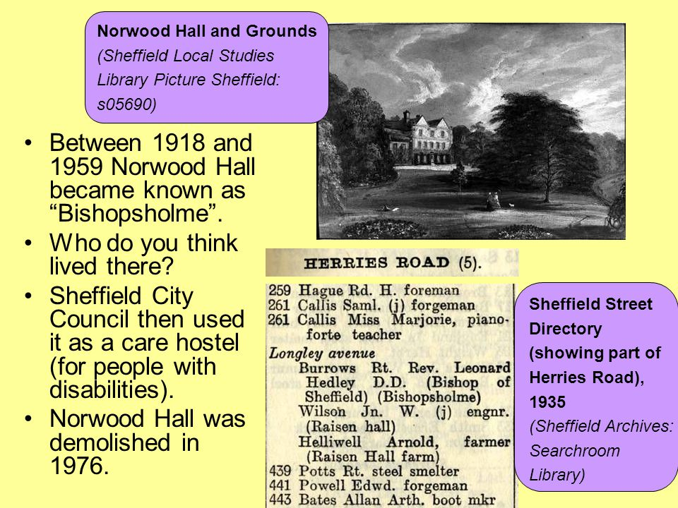 Between 1918 and 1959 Norwood Hall became known as Bishopsholme .