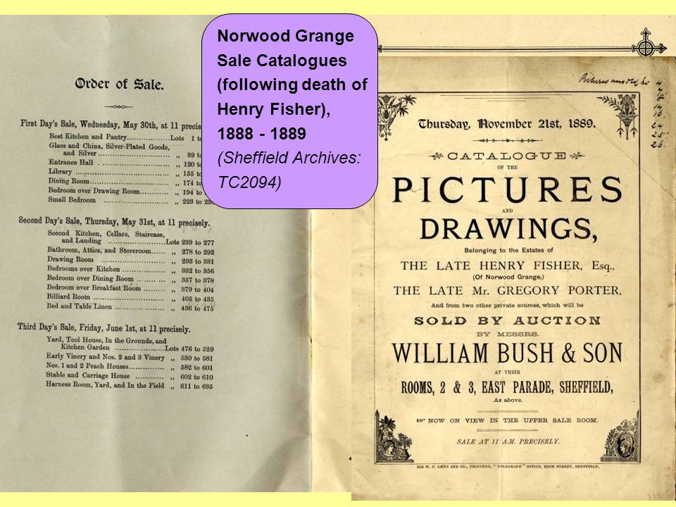 Norwood Grange Sale Catalogues (following death of Henry Fisher),