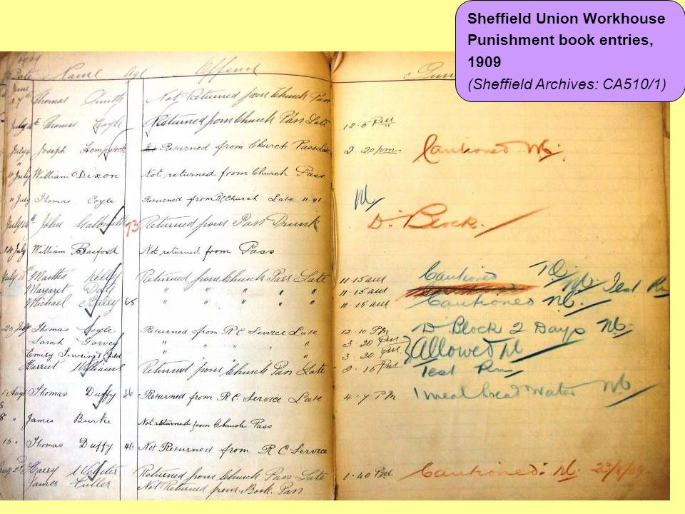 Sheffield Union Workhouse Punishment book entries, 1909