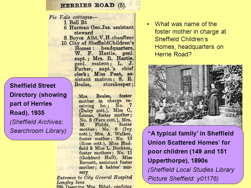 A typical family' in Sheffield Union Scattered Homes' for
