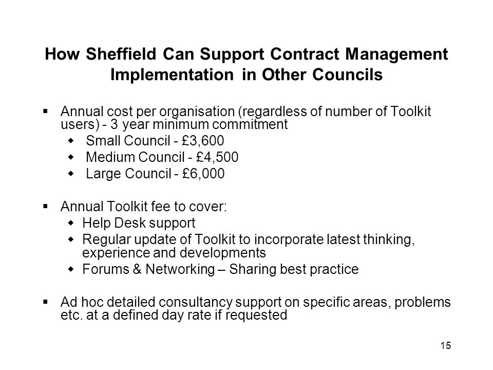 How Sheffield Can Support Contract Management Implementation in Other Councils