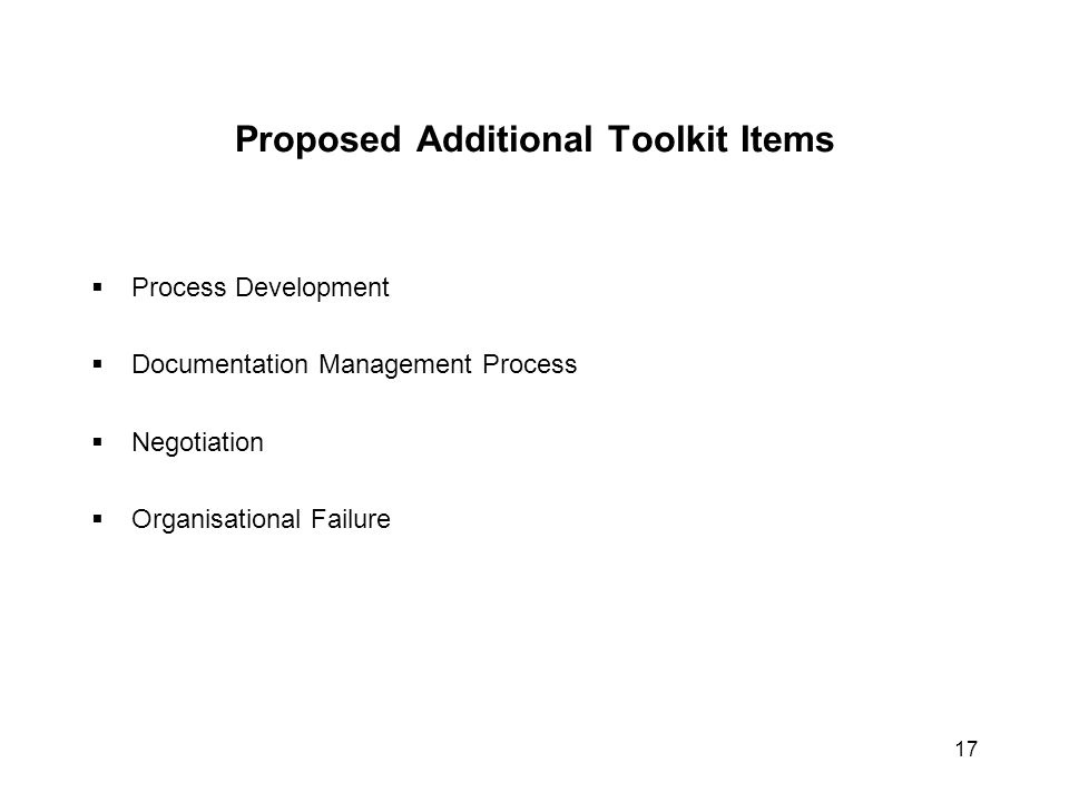 Proposed Additional Toolkit Items